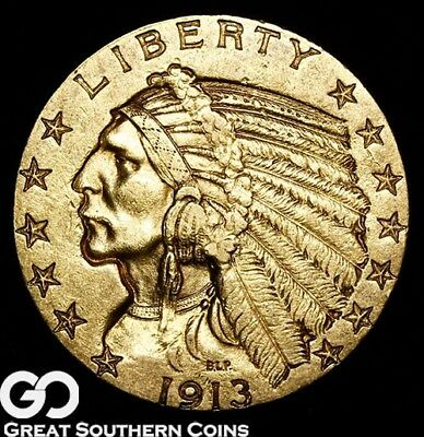 1913 Half Eagle, $5 Gold Indian, Brilliant Uncirculated++ ** Free Shipping!