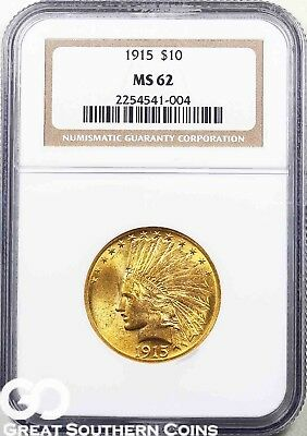 1915 NGC Eagle, $10 Gold Indian NGC MS 62 ** Free Shipping!