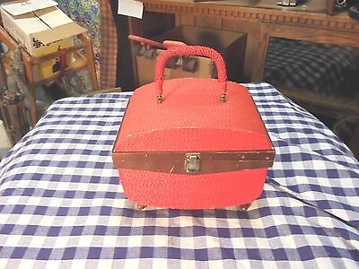 vintage singer sewing case red weave pattern wooden legs bit rough