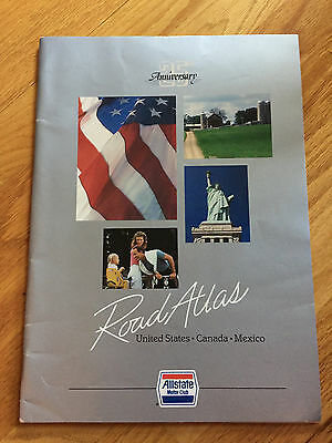 Allstate Motor Club 25th Anniversary Road Atlas United States Canada Mexico 1986