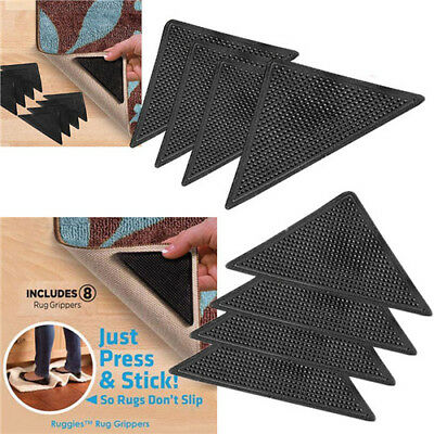 8 X Rug Carpet Mat Grippers Ruggies Non Slip Skid Reusable Washable Grips New