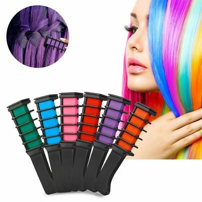 6PCS Temporary Hair Chalk Hair Color Comb Dye Salon Kits Party Fans Cosplay UK
