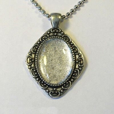 NECKLACE KIT 25x18mm Pendant Setting Ball Chain Glass Cabochon Antique Silver