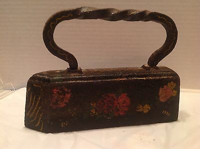 Antique Heavy Tailor Sad Iron Hand Painted Folk Art Twisted Handle Cast Iron