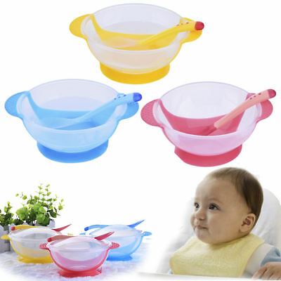 Hot Baby Kids Suction Cup Bowl Antislip Feeding Set Sucker Bowl With Spoon Fork