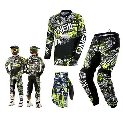 Oneal Element Combo Attack schwarz neon Enduro Motocross Crosshose Shirt Glove