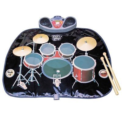 Kids Folding Drum Kit Playmat Speakers Drumsticks Mp3 Input Christmas Fun Toy
