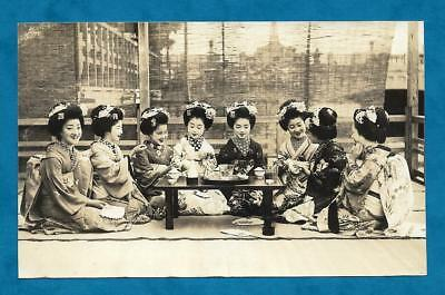 Lovely C1927 Informal Rp Pc Eight Japanese Geisha Girls Around Table - Japan