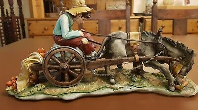 The Reluctant Donkey Capodimonte Porcelain Cortese Signed COA Vintage.