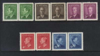 Canada 1950 Defins Mint Set Of 5 Pairs