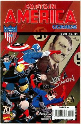 Captain America 70Th Special Hitler Cvr Df Dynamic Forces Signed Joe Simon Coa
