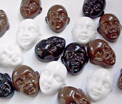 6 Multi-Cultural Doll Faces Flat Back Cabochons Plastic in Black, White, Brown