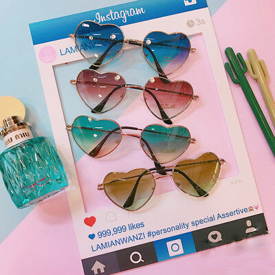 Vintage 80's Retro Style Heart Shape Sunglasses Gradient Color Heart Glasses