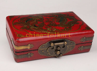 Box Red Dragon Phoenix Ornament Chinese Marriage Series Leather