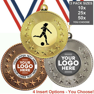 GILRS FOOTBALL METAL MEDALS, PACK OF 10, RIBBONS, INSERTS or OWN LOGO & TEXT
