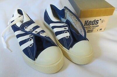 Vintage Keds Sneakers Shoes Dead Stock Kids Youth Navy 1 M