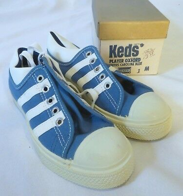 Vintage Keds Sneakers Shoes Dead Stock Kids Youth Carolina Blue 1 M