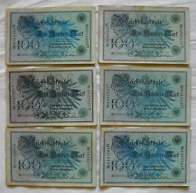 Lot of 60 x 100 Mark Money/Banknote from German Land 1908, ...all in used !!
