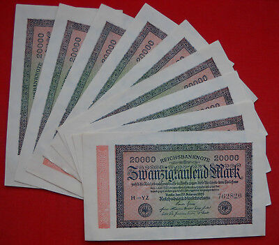 9 x 20000 Mark Reichsbanknote German Land 1923, with consecutive numbers, in UNC