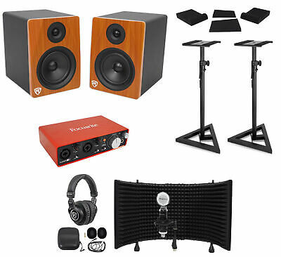 """Focusrite Package w/Interface+Pair 6.5"""" Monitors+Recording Mic+Headphones+Stands"""