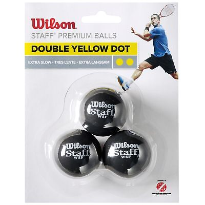 Wilson Staff Double Yellow Dot Extra Slow Competitive Squash Balls - Pack of 3