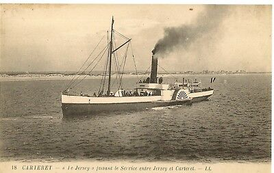 Ll 18  Jersey Carteret  Paddle Steamer 'le Jersey' Ferry Between The Two Places