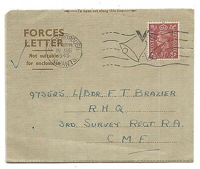 WW2 War Cover - Forces Letter Wellingborough VICTORY BELLS 1945 CMF