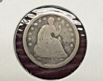 """1853 w/ARROWS """"SEATED LIBERTY"""" HALF DIME 5¢ SILVER COIN @F"""