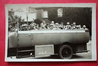 CHARABANC OUTING, SHANKLIN?, ISLE OF WIGHT  early RP postcard