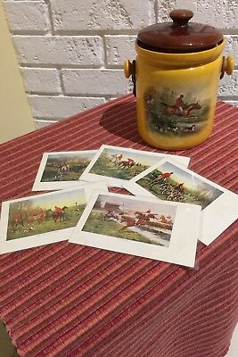 Hunt Horse Steeplechase Racing Horse Pottery and postcard set