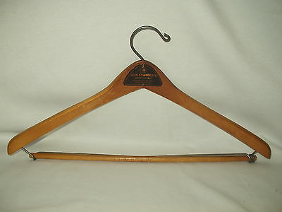 SCHLESINGER'S vintage advertising WOOD clothes HANGER