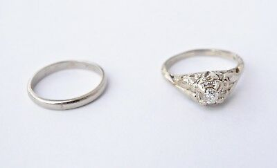 Antique 18kt White Gold Diamond Engagement ring and wedding band set