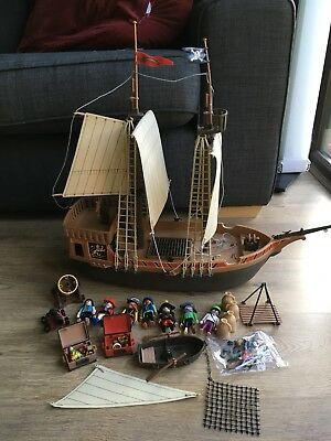 Playmobil Vintage Pirate Ship With Figures And Some Accessories