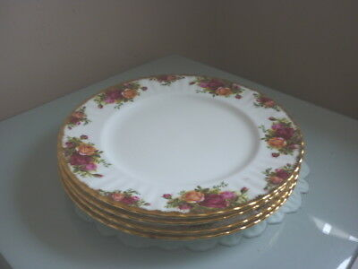 Four Royal Albert Old Country Roses Dinner Plates