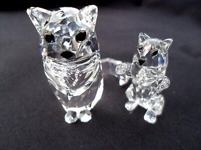 Beautiful & Cute Swarovski Crystal Mother Cat & Kitten . Perfect Condition