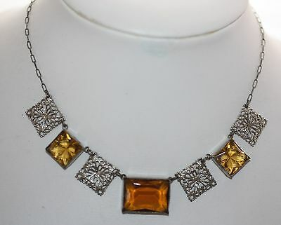 Antique Victorian Art Deco Faceted Amber Citrine Glass Necklace