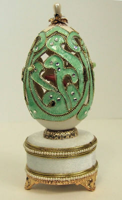 Replica Faberge egg featuring a  Ballet dancer, turning to Music