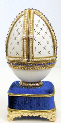 Replica Faberge egg featuring the Scene of the Christ Child