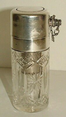 Cut glass, sterling silver mounted, atomiser scent perfume bottle