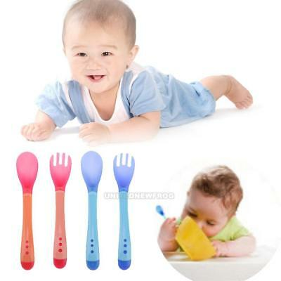 2Pcs Baby Boys Girls Feeding Safety Soft Spoon + Fork Temperature Sensing Spoon