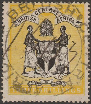 British Central Africa 1896 QV 3sh Black and Yellow Fiscally Used SG38 crease