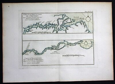 1764 - Rio Orinoco river Venezuela Bellin handcolored antique map