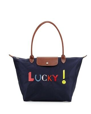 LONGCHAMP Le Pliage Lucky large shoulder tote bag Navy Made In France 9b26fcc9b3a3a