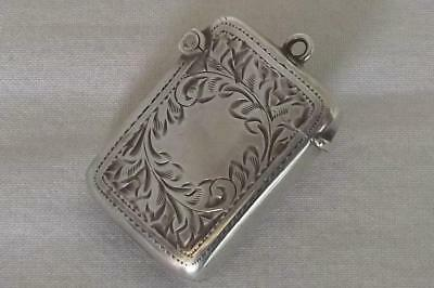 A Stunning Antique Solid Sterling Silver Edwardian Vesta Match Case Dates 1905.