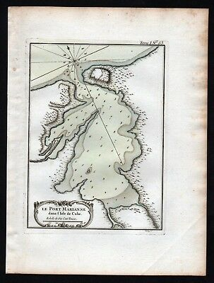 1764 - Cuba Kuba Port of Mariel Bellin handcolored antique map