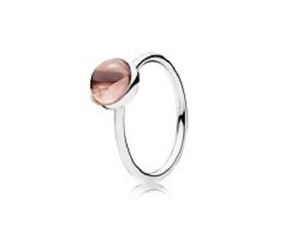 ef6bb31707036 PANDORA AUTHENTIC 925 190982pcz-52 Poetic Droplet pink ring sz 6 ...