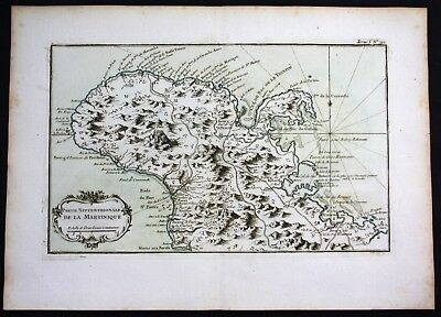 1764 - Martinique island Lesser Antilles Bellin handcolored antique map