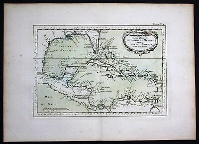 1764 - Gulf of Mexico Cuba Hispaniola Bellin handcolored antique map