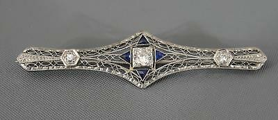Ladies 18kt White Gold, .65ct Diamonds & Sapphire Art Deco Filigree Pin Brooch