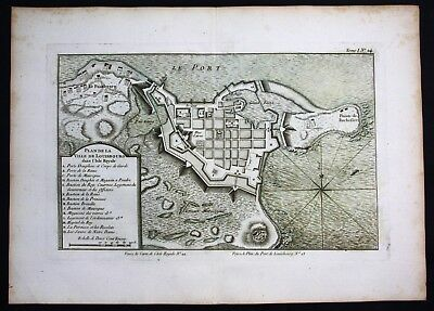 1764 - Louisbourg Nova Scotia Canada city plan Bellin handcolored antique map